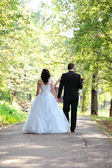 Bride and groom walking in the park — Stockfoto