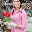 Portrait of attractive young female gardener — Stock Photo