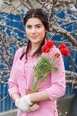 Young beautiful woman gardener portrait — Stok fotoğraf