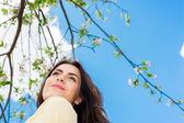 Woman enjoying spring time — Stock Photo