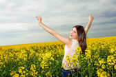 Happy young woman with hands in the air — Stock Photo