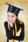 Young woman worried on her graduation day — Stock Photo