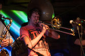 Louth,Ireland,May 4th 2014,Booka Brass Band perform live at Vantastival,Bellurgan Park,County Louth on May 4th 2014 in Louth,Ireland — Stock Photo