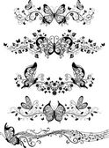 Monochrome floral pattern — Stock Vector