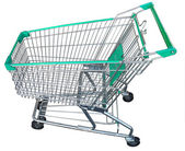 A full size empty green shopping cart isolated on white background — 图库照片