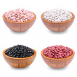Group of beans in a wooden bowl — Stock Photo