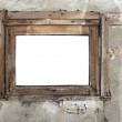 Rusty old wooden window on a cracked wall — Stock Photo #42706919