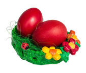 Bright Easter eggs in a pot — Stock Photo