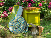 Beehive and beekeeping equipment — Stock Photo