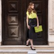 City chic girl with neon blouse — Стоковое фото #45083051