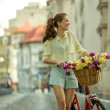 Beautiful city biker — Stock Photo