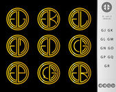Monogram Design with letter G set — Stock Vector
