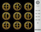 Monogram Design with letter H set — Stock Vector