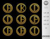 Mektup l set dizayn monogram — Stok Vektör