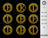 Monogram Design with letter N set — Stockvector