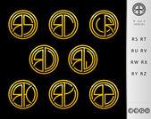 Monogram Design with letter R set — Stock Vector