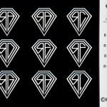 Monogram letter R set ( Diamond ) — Stock Vector