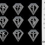 Monogram letter S set ( Diamond ) — Vettoriale Stock