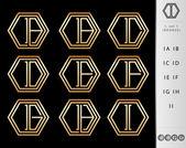 Monogram Design with letter I set — Stock Vector
