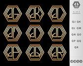 Monogram Design with letter Q set — Stock Vector
