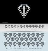 Monogram Design with letter F ( Diamond ) — Stock Vector