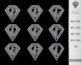 Monogram  letter W set  ( Diamond ) — Stock Vector
