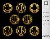 Conception Monogram avec lettre u jeu — Vecteur