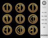 Monogram Design with letter V set — Stockvector