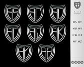 Monogram letter H set ( Silver ) — Stock Vector