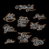 Hand written motorcycle labels — Stock Vector