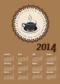 Koffie stijl kalender — Stockvector