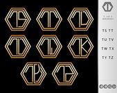 Design letter T set (Bronze) — Stock Vector