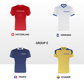 Football Jerseys Group E — Stock vektor