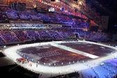 Sochi, rusia - 07 de febrero de 2014: desfile de las naciones unidas (desfile de un — Foto de Stock