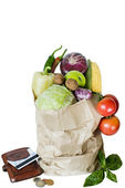 Vegetables in the package isolate coin purse purchase — Stockfoto