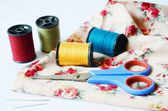 Sewing tools and colored tape — Stock Photo