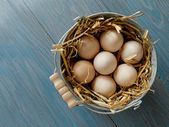 Bucket of fresh eggs — Stock Photo