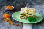South African bobotie dish layered with pancakes — Stock Photo