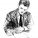 Writing man — Stock Vector