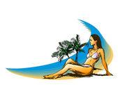 Kobiety na plaży — Wektor stockowy