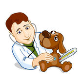 Illustration of veterinarian examining dog — Stock Vector