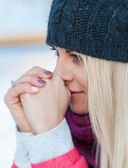 Cute Woman With Long Blonde Hair In Warm Winter Clothes — Stock Photo