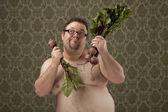 Sobrepeso hombre tomar decisiones saludables — Foto de Stock