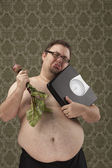 Overweight male making healthy choices — Stock Photo