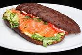 Smoked salmon multi grain sandwich — Stock Photo