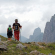 Hikers on the top of mountains — Stock Photo