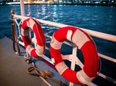 Lifebuoy on boat — Stock Photo