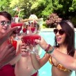 Friends toasting at swimming pool — Stock Video #45148243