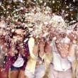 Hipsters blowing confetti — Stock Video #45155105
