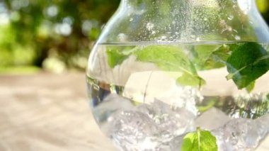 Jug of water with fresh mint leaves — Stock Video